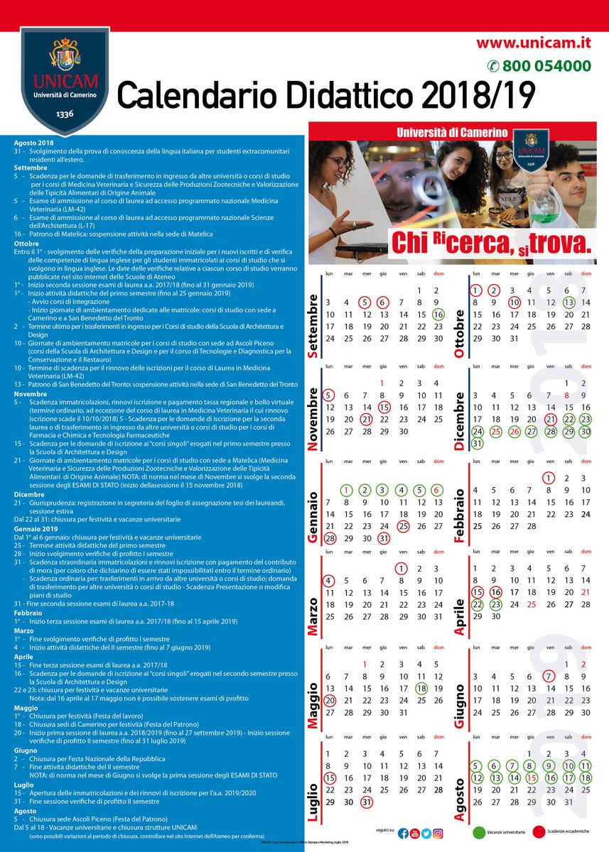 Unicam Calendario Didattico.Unicam Calendario Esami Ikbenalles