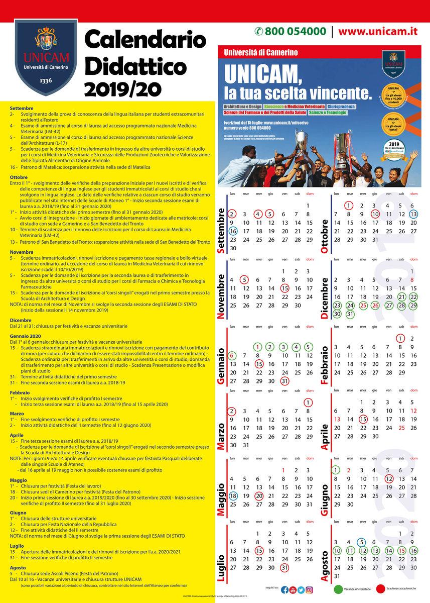 Calendario Accademico 2020.Calendario Didattico Universita Di Camerino
